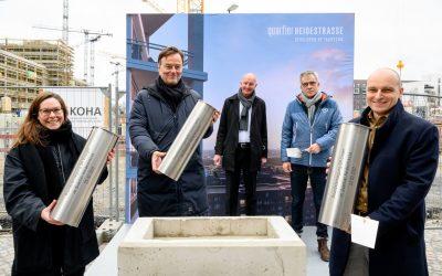 Quartier Heidestrasse macht Tempo: Grundstein für drei Gebäude gelegt